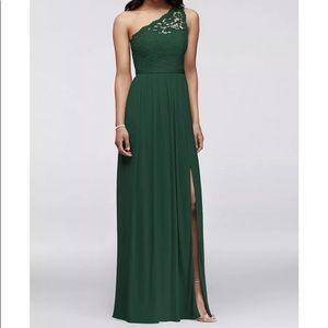 DAVID'S BRIDAL Long One Shoulder Lace Dress